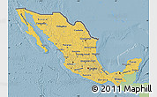 Savanna Style Map of Mexico, single color outside