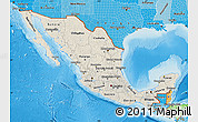 Shaded Relief Map of Mexico, political shades outside, shaded relief sea
