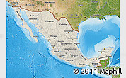 Shaded Relief Map of Mexico, satellite outside, shaded relief sea