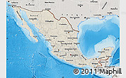 Shaded Relief Map of Mexico, semi-desaturated, land only