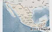 Shaded Relief Map of Mexico, semi-desaturated