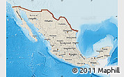 Shaded Relief Map of Mexico, single color outside