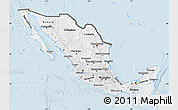 Silver Style Map of Mexico, single color outside