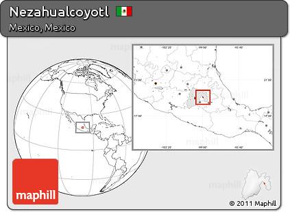 Nezahualcoyotl Mexico Map.Free Blank Location Map Of Nezahualcoyotl Highlighted Parent Region