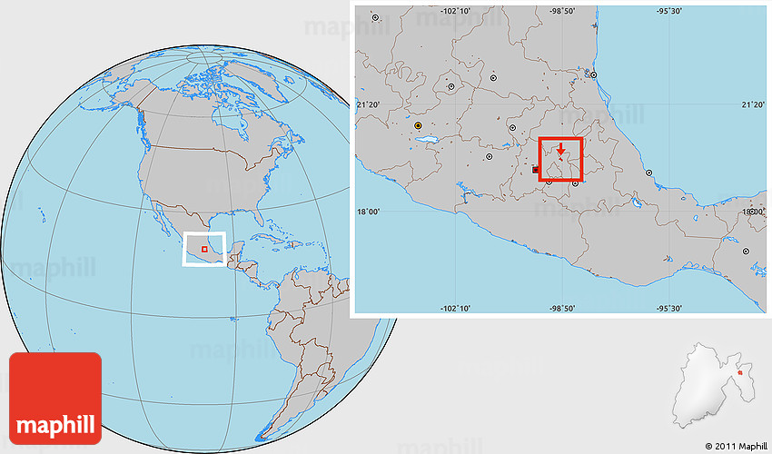 Teotihuacan World Map.Gray Location Map Of Teotihuacan