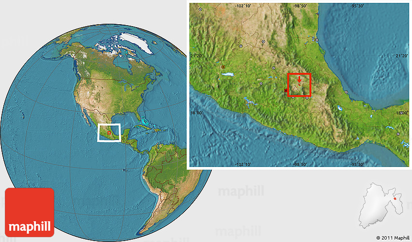 Teotihuacan World Map.Satellite Location Map Of Teotihuacan
