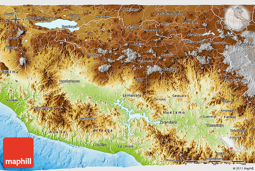 Physical 3d Map Of Michoacan