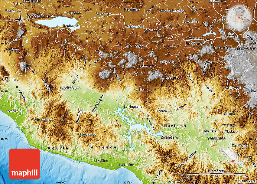 Physical Map of Michoacan – Geographical Map of Mexico