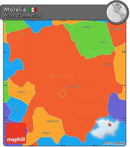Free Political Simple Map Of Morelia