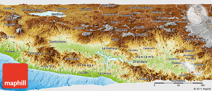 Interactive map of Pacific Coast beaches: Jalisco, Nayarit ...  |Water Maps Michoacan Mexico