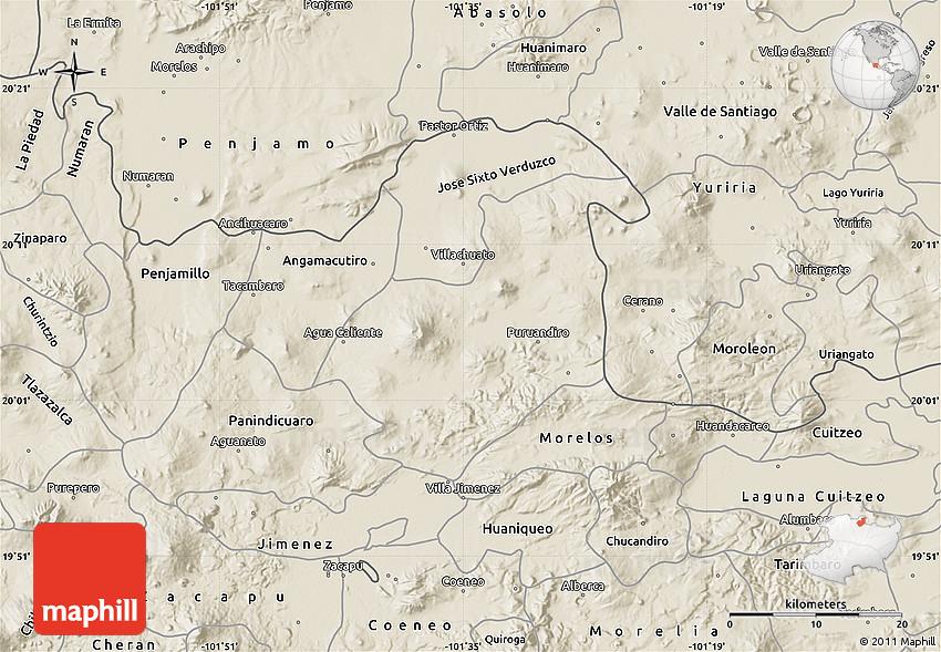 Shaded Relief Map of Puruandiro