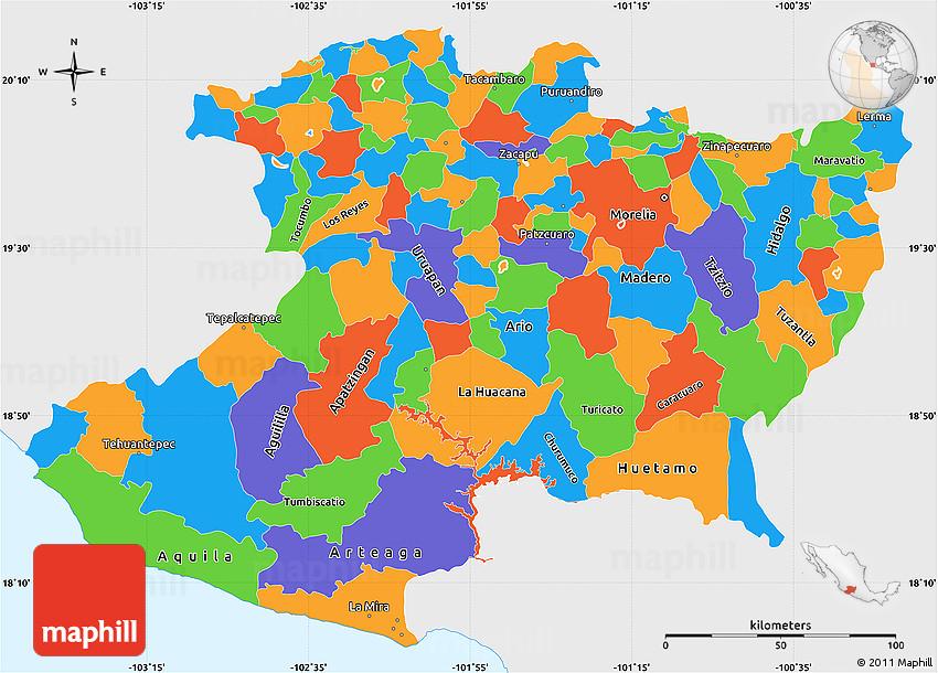 Political Simple Map of Michoacan, single color outside