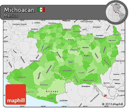 Free Political Shades Simple Map of Michoacan, single color ...