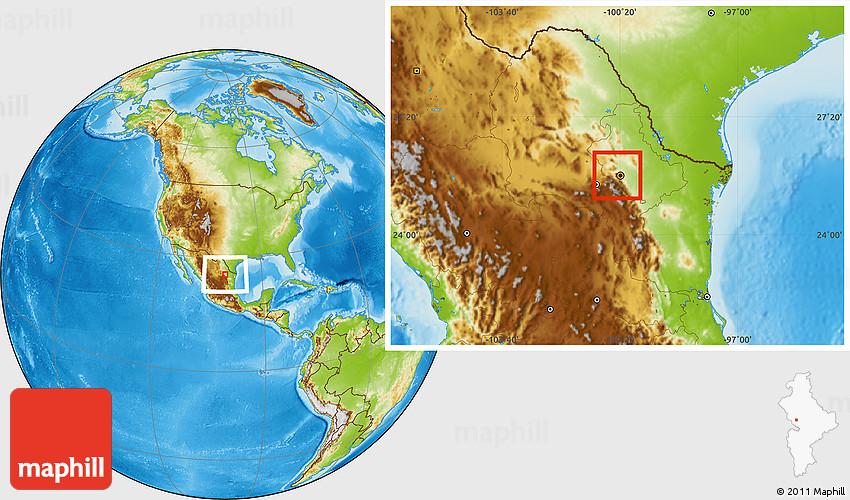 Physical Location Map of San Pedro Garza Garcia on