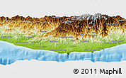 Physical Panoramic Map of Dist. Pochutla