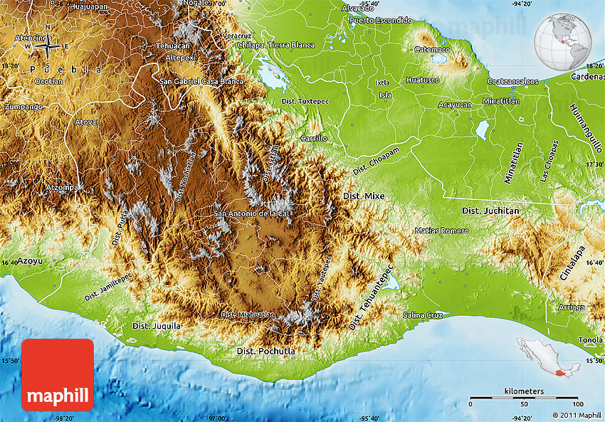 Guajaca Mexico Map.Physical Map Of Oaxaca
