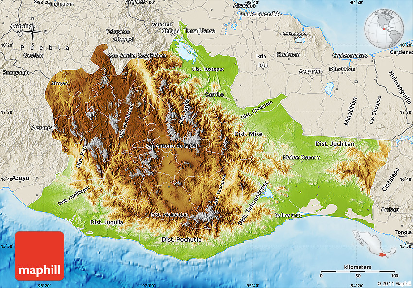 Physical Map of Oaxaca shaded relief outside
