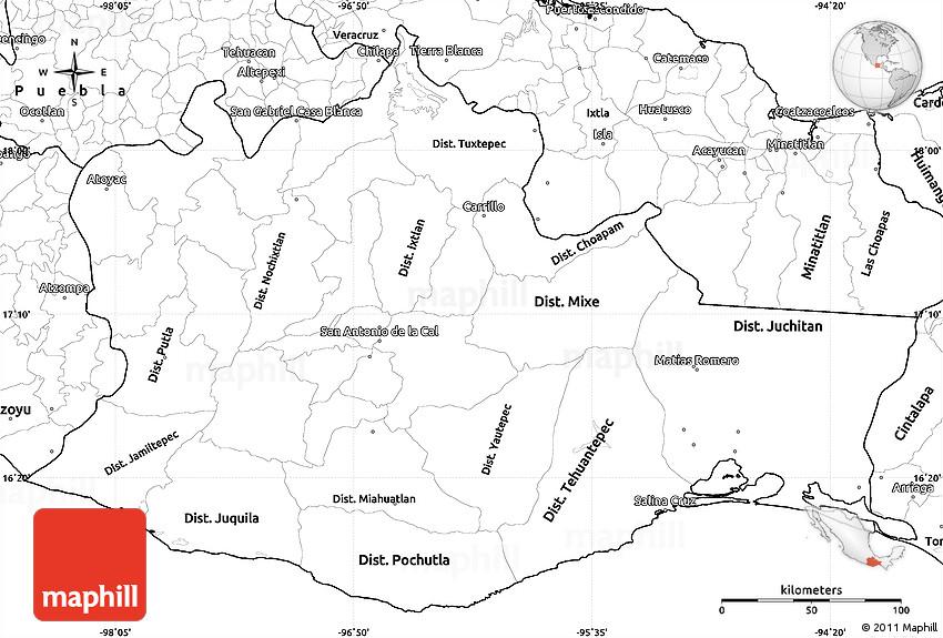Guajaca Mexico Map.Blank Simple Map Of Oaxaca