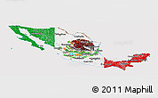 Flag Panoramic Map of Mexico, flag centered