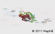 Flag Panoramic Map of Mexico, flag aligned to the middle