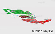 Flag Panoramic Map of Mexico, flag rotated