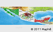 Flag Panoramic Map of Mexico, physical outside