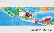 Flag Panoramic Map of Mexico, political outside