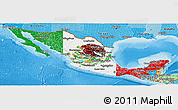 Flag Panoramic Map of Mexico, political shades outside