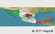 Flag Panoramic Map of Mexico, satellite outside