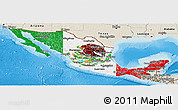 Flag Panoramic Map of Mexico, shaded relief outside