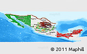 Flag Panoramic Map of Mexico, single color outside, bathymetry sea