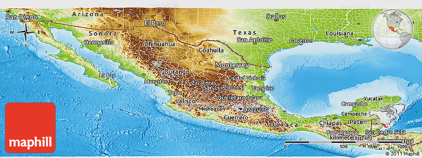Physical Panoramic Map of Mexico – Geographical Map of Mexico