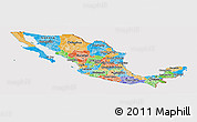 Political Panoramic Map of Mexico, cropped outside
