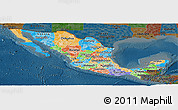 Political Panoramic Map of Mexico, darken
