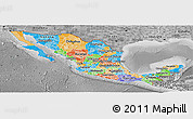 Political Panoramic Map of Mexico, desaturated
