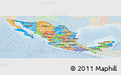 Political Panoramic Map of Mexico, lighten