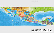 Political Panoramic Map of Mexico, physical outside