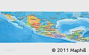 Political Panoramic Map of Mexico, political shades outside
