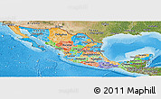 Political Panoramic Map of Mexico, satellite outside, bathymetry sea