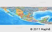 Political Panoramic Map of Mexico, semi-desaturated, land only
