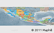 Political Panoramic Map of Mexico, semi-desaturated