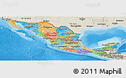 Political Panoramic Map of Mexico, shaded relief outside, bathymetry sea