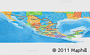 Political Panoramic Map of Mexico, single color outside
