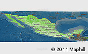 Political Shades Panoramic Map of Mexico, darken