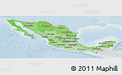 Political Shades Panoramic Map of Mexico, lighten