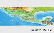 Political Shades Panoramic Map of Mexico, physical outside