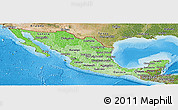 Political Shades Panoramic Map of Mexico, satellite outside, bathymetry sea