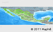 Political Shades Panoramic Map of Mexico, semi-desaturated, land only