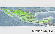 Political Shades Panoramic Map of Mexico, semi-desaturated