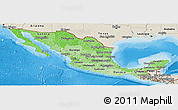 Political Shades Panoramic Map of Mexico, shaded relief outside, bathymetry sea